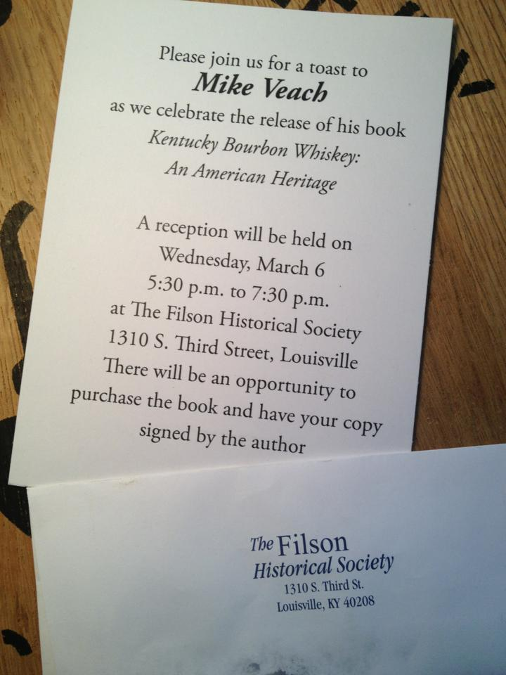 Invitation to Mike Veach's book release party